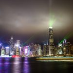 Hongkong Skyline mit Lightshow