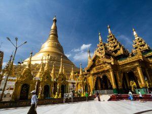 Shwedagon Pagode aus der Nähe